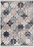 We Love Rugs - Carpeto Traditioneller Klassischer Teppich für Ihre Wohnzimmer - Grau Beige Creme Schwarz - Patchwork Perser Orientalisches Muster - Top Qualität Pflegeleicht AYLA 160 x 220 cm Groß
