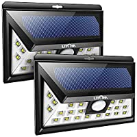 Super Bright Solar Lights Garden, Solar Powered Motion Sensor Outdoor Light, Litom 24 LED Outdoor Wall Lights, Waterproof Security Light, Wide Angle Design Wireless Light With 3 LEDs Both Side For Garden, Patio, Deck, Yard, Driveway - 2 Pack