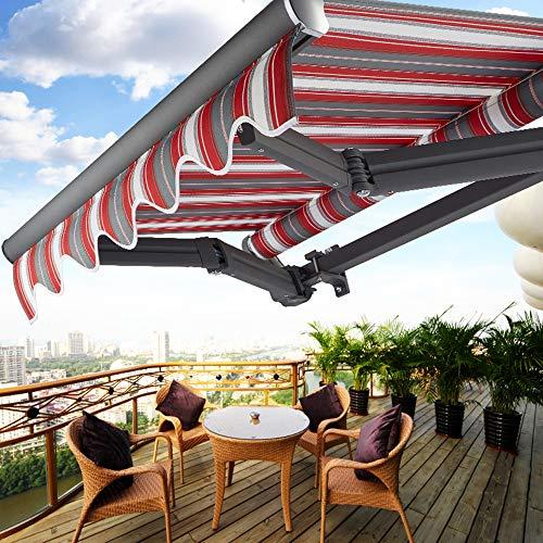 Yxlz tenda da sole a scomparsa manuale, design a doppia trave tenda da esterno per balcone per casa - con maniglia, panno in poliestere alta qualità, braccio in vernice satinata in lega di alluminio