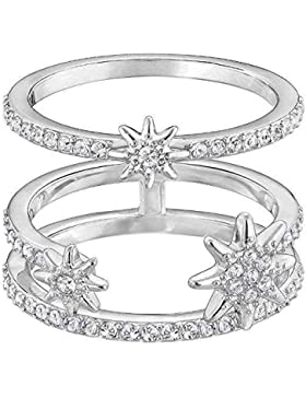 Swarovski Damen-Stapelring Platiniert Kristall transparent Rundschliff 5257466