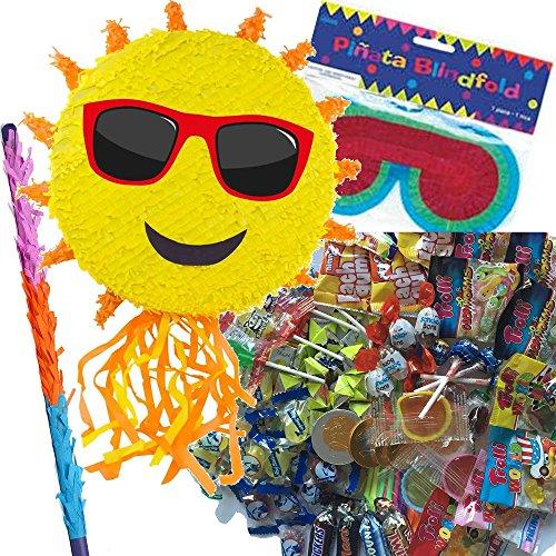 Preisvergleich Produktbild Pinata Set: * SONNE * mit + Maske + Schläger + 100-teiliger Süßigkeiten-Füllung No.1 von Carpeta© // Handgefertigte spanische Pinata. Tolles Spiel für Kindergeburtstag oder Mottoparty //