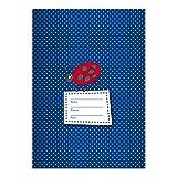 4 süße DIN A4 Schulhefte, Rechenhefte mit Marienkäfer, blau Lineatur 29 (kariertes/ rautiertes Heft)