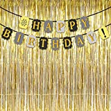 #10: Party Propz™ # Happy Birthday Golden Glitter Banner/Happy Birthday Decoration/Happy Birthday Party Supplies/Birthday Banner for Party