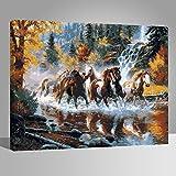 Rihe Holzrahmen, Malen Nach Zahlen DIY Ölgemälde Pferde über Dem Fluss Leinwand Drucken Wandkunst Haus Dekoration