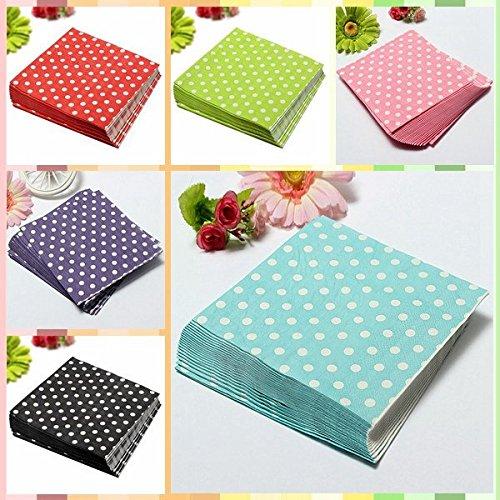 Bluelover 20 pcs colorato pois partito tovaglioli di carta 2 strati di colore rosa per banchetti