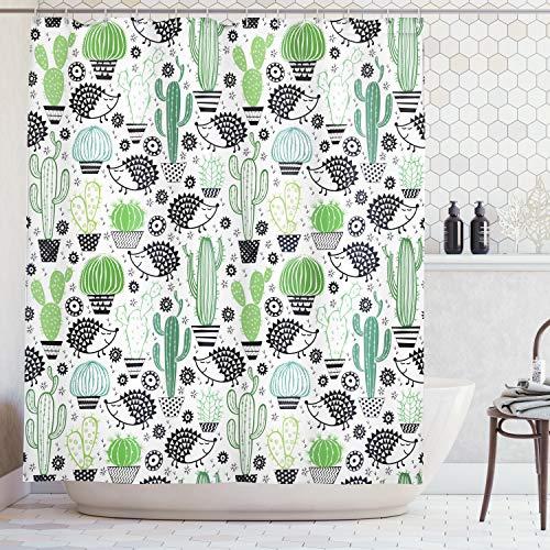 ABAKUHAUS Duschvorhang, Cartoon Inspirierte Abstrakte Zeichnung von Niedlichen Igel Tier Kaktus Comic Design Druck, Blickdicht aus Stoff inkl. 12 Ringe für Das Badezimmer Waschbar, 175 X 200 cm