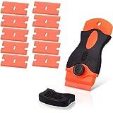 Ehdis Kunststof schraper met 10 kunststof messen, plastic spatel plastic schraper voor het verwijderen van stickers, lijmverw