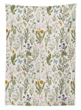 Yeuss Floral Tischdecke Vintage Garten Pflanzen Kr?uter Blumen Botanischen Klassisches Design, Esszimmer K¨¹Che Tisch, rechteckig, Bezug, beige Reseda Gr¨¹n Pink Blau 60