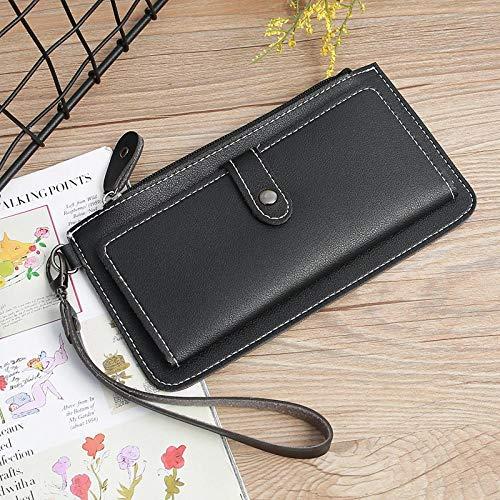 LSFYHC Multicolor optional schwarz rosa grün grün Damen Brieftasche Lange Brieftasche aus reinem Leder Schnalle Reißverschluss Clutch Bag weibliche Brieftasche -