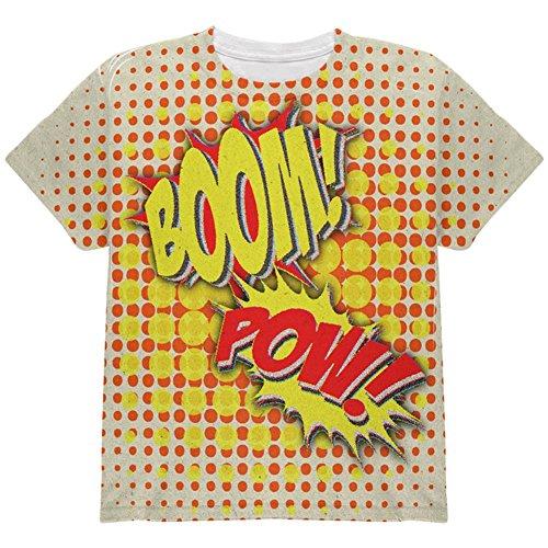 Halloween Boom Pow Vintage Comic-Buch-Kostüm auf der Ganzen Jugend T Shirt Multi YXL