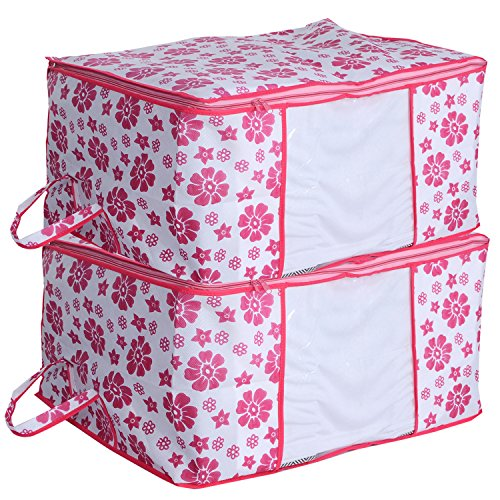 Kuber Industries 2 Pieces Non Woven Blanket Cover, Underbed Storgae Bag Set, Extra Large, Pink