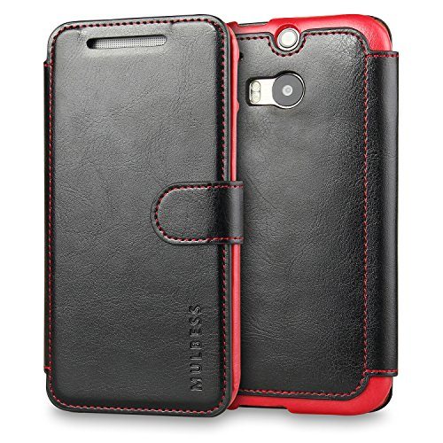 Mulbess HTC One M8 hülle Schwarz,Ledertasche für HTC One M8 Tasche Leder