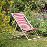 Traditional Adjustable Garden / Beach-style Deck Chair - Red / White Stripe - Pack of 2