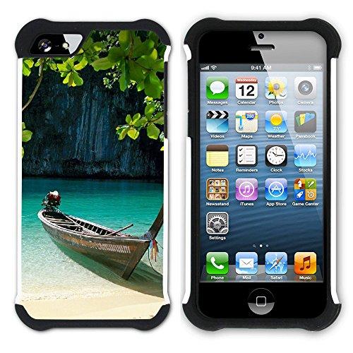 Graphic4You Thailand Strand Postkarte Aussicht Hart + Weiche Kratzfeste Hülle Case Schale Tasche Schutzhülle für Apple iPhone SE / 5 / 5S Design #8