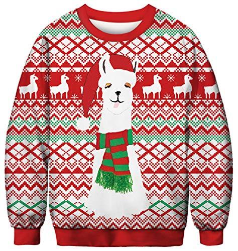 Ocean Plus Herren Digitaldruck Pulli Creww Neck Halloween Thema Sweatshirt Weihnachten Unisex Langarm Pullover (M (Brustumfang: 108cm), Weihnachtsmütze Lama)