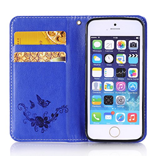 iPhone 5C Case,Wallet Case for iPhone 5C,Heyqie(TM)[Kickstand][Magnetic Closure] Embossing Butterfly Flower PU Leather Wallet Case Flip Cover with Card Holder for Apple iPhone 5C - Gold Blue