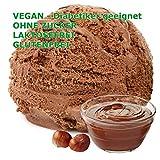 Nuss Nougat Creme Geschmack Eispulver VEGAN - OHNE ZUCKER - LAKTOSEFREI - GLUTENFREI - FETTARM, auch für Diabetiker Milcheis Softeispulver Speiseeispulver Gino Gelati (Nuss Nougat Creme, 333 g)