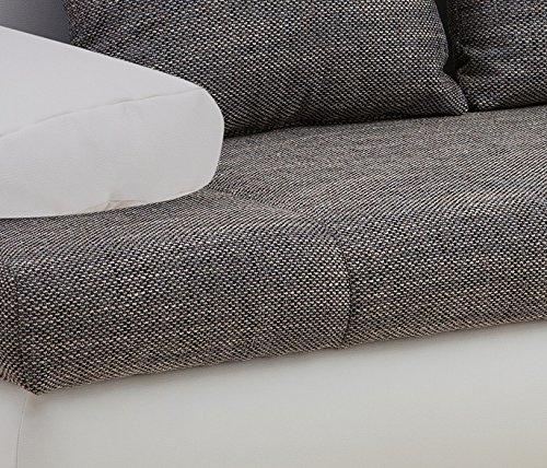B-famous Schlafsofa Chicago-FK Kunstleder, 200 x 95 cm weiß mit Strukturstoff grau - 5