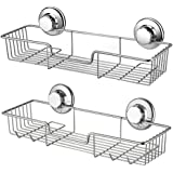 iPEGTOP Suction Cups Compact Shower Caddy Bath Shelf with Hooks, Rustproof Stainless Steel Rectangle Storage Basket for Bathr