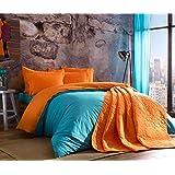 Colorful naranja azul ropa de cama juego de funda de edredón, 100% algodón, doble tamaño, 4piezas