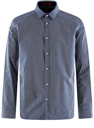 oodji Ultra Uomo Camicia Stampata Attillata Blu (7910E)