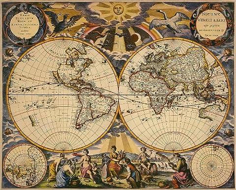 Parure Reproduction Pieter Goos 1666 carte du Planisphère - 40 x 33 cm