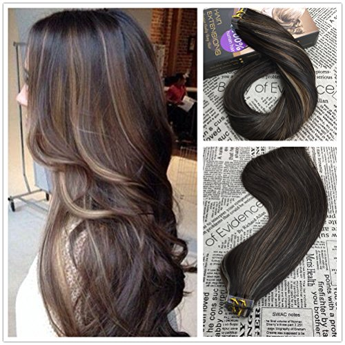 moresoo-100-remy-hair-extensions-50g-20pcs-16inch-tape-in-blend-dark-brown-with-caramel-blonde-and-w
