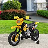Homcom – Moto Cross Elettrica per Bambini con Rotelle con Certificato CE, EN71-1-2-3, EMC, EN62115, Giallo