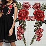 #4: Generic 2 x Embroidery Rose Flower Sew On Patch Badge Bag Hat Jeans Dress Applique Craft