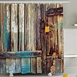 Duschvorhang wasserdicht digital print Badezimmer Decor Country Stil Holz Tür 180,3 x 180,3 cm, Textil, Wood Dyeing, Without Hook