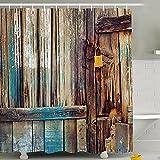 Duschvorhang wasserdicht digital print Badezimmer Decor Country Stil Holz Tür 180,3x 180,3cm, Textil, Wood Dyeing, Without Hook