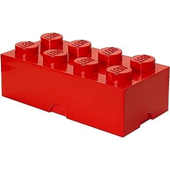 LEGO Storage Brick 8 Knobs, Stackable Storage Box, 12 l, Red