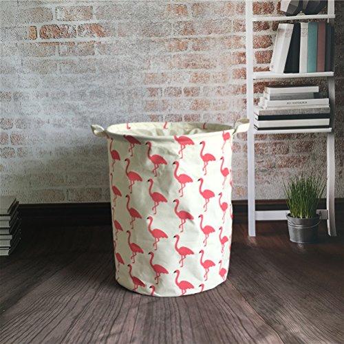 Inwagui Wäschekorb Klapp Kinder aufbewahrung Spielzeug Warenkorb Kleidung Halter wäschebox mit Deckel 35 * 45cm-Flamingo A