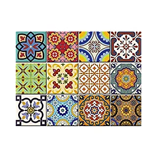 Tile Stickers 24 PC Set Traditional Talavera Tiles Stickers Bathroom & Kitchen Tile Decals Easy to Apply Just Peel & Stick Home Decor 15x15 CM (Kitchen Tiles Stickers C)