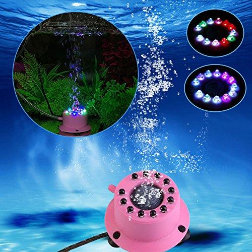 Vetrineinrete Luce da acquario 12 led rgb multicolore mini lampada con pietra porosa per bolle d'aria colorate impermeabile luci per decorazione acquari C7