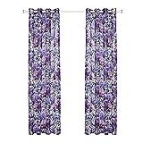 SANMI Purple Hortensia Rideau de Tulle fenêtre de Traitement Voile Drape Rideau Maison Salon Chambre à Coucher, 2 * 130cm*160cm