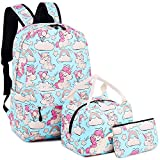 Zaino Casual Scuola Set 3pcs Daypacks/Canvas Backpack Tela Zaini Ragazza/Donna+ Messenger Bag + Purse (Rosa - Unicorno)