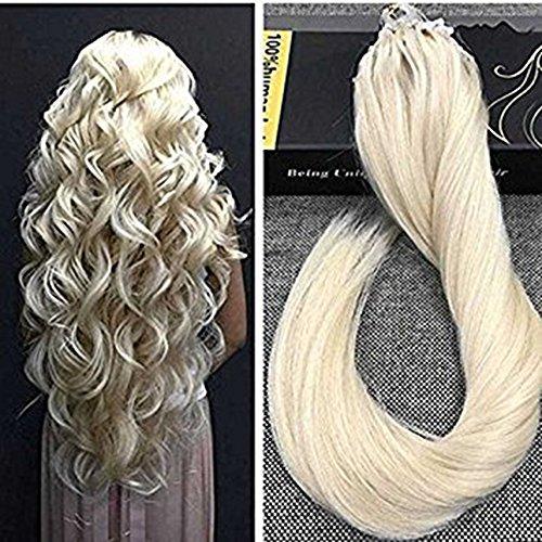 Ugeat 14Zoll/35cm 50g Brasilianische Echte Haare Micro Ring Naturlich Extensions Echthaar Blond Remy Glatt Haarverlangerung Farbe #613