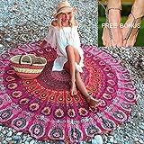 'multicolore arazzo mandala rotonda Beach gettare sciarpa, bikini boho costumi da bagno pareo Vortex Paisley totem picnic tovaglia