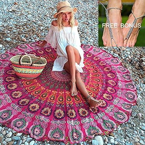 Multicolore Tapisserie Mandala rond Plage Throw Écharpe, Bikini Boho maillots de bain Paréo Vortex Paisley Totem pique-nique Nappe