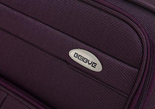 BEIBYE 4 Rollen Reisekoffer 8005 Stoffkoffer Gepäck Koffer Trolley SET-XL-L-M in 5 Farben Lila
