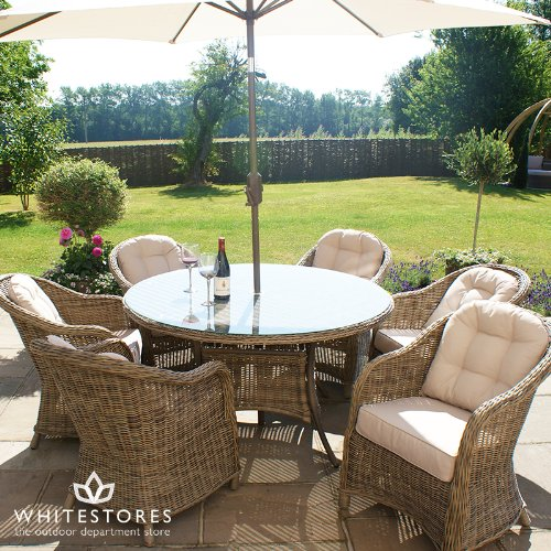 Maze Rattan 6 Seater Rounded Armchair Rattan Winchester Garden Furniture Round Table Dining Set