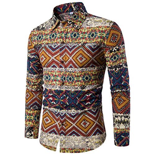 LMMVP Blusa para Hombre Casual Manga Larga Negocio Ajustado Impresión Retro  Negocio Botón Formal Camiseta para f2774609a34