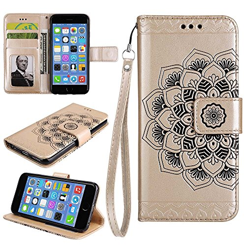 Custodia IPhone 6S /6 PLUS, ESSTORE-EU Custodia in Pelle con Slot per Schede,Stile Libro,Custodia Portafoglio per IPhone 6S / 6 PLUS con Funzione di Supporto e Chiusura Magnetica, Oro Oro