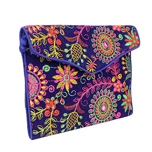 Agnaaya Women's Handcrafted embroidered ethnic Sling bag/Clutch (Jaipuri, Rajasthani & Gujrati work)