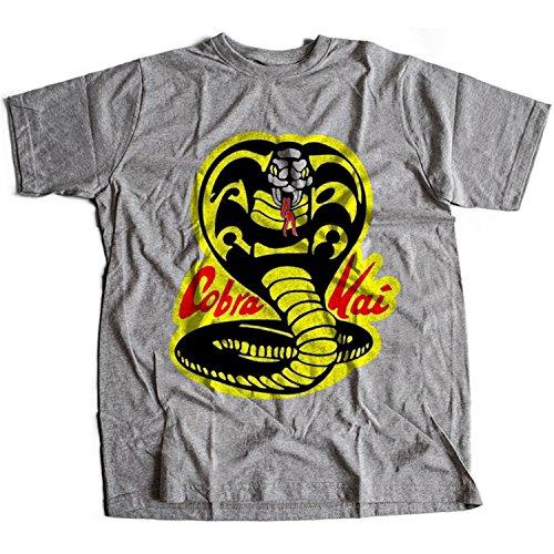 61trsprR%2BcL - Camiseta gris con logo Cobra kai