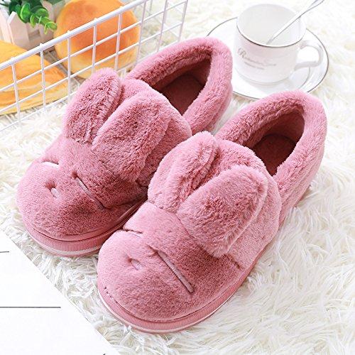 Fankou inverno home home giovane non - Slittamento carino minimalista caldo gli uomini e le donne di cotone cotone pantofole scarpe pacchetto spessa con la femmina Grau