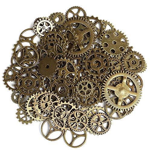 Amasawa 200 Stück Antique Gears Räder Skeleton Steampunk Anhänger Charms Uhr Uhr Zahnräder für DIY Handwerk, Schmuckherstellung, Cosplay Kostüm Zubehör Bronze (Zahnräder Zahnrad Kostüme)