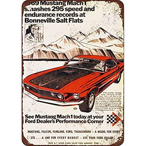 1969 Ford Mustang Mach 1 AT Bonneville Salt Flats Look Vintage Riproduzione in metallo Tin Sign 17,8 x 25,4 cm