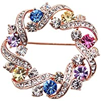 METTU Women Multi Color Zirconia Crystal Wreath Brooch Pins Corsage Pin for Wedding Party
